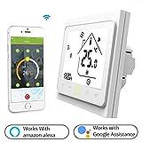 Thermostat WiFi pour chaudière gaz/eau,Thermostat intelligent Écran LCD (écran TN) Bouton tactile Rétro-éclairé programmable avec Alexa Google Home(NO google assistant) and Phone APP-White APP-Blanc