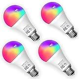 Ampoule Connectée WiFi, 4 Ampoules LED Intelligentes Compatibles avec Alexa, Google Home et SmartThings, E27 2700K-6500K Ampoule Dimmable Multicolore (Équivalente 60W) avec Contrôle Vocal à Distance