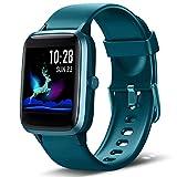 Lintelek Montre Connectée Intelligente Homme Femme Ecran Tactile, Smartwatch Cardio Fréquence Bracelet Connecté Tracker d'activité Podomètre Compatible avec Android iOS
