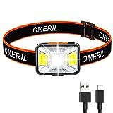OMERIL Lampe Frontale LED USB Rechargeable 1800 mAh,200 Lumens avec 5 Modes D'éclairage Blanc et Rouge, Torche Frontale Puissante Etanche IPX5 pour Course, Camping, Lecture, Bricolage, Cyclisme,Pêche