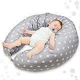 Coussin de grossesse et d'allaitement - coussin femme enceinte, dallaitement, Oreiller Maternité d allaitement pour dormir, Gris bébé Coussins
