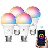 Lumary Ampoules Connectée Alexa,Ampoule WiFi LED Intelligente 9W E27,Multicolore et Dimmable RGBW 2700K-6500K,Compatible Alexa,Google Home, Contrôle à Distance et Commande Vocale,Équivalent 90W(4-pcs)