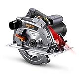 Scie Circulaire 1500 W, 5000 tr/min, Protection en Aluminium, 2 Lames 190mm/24T et 185mm/40T, Scie Circulaire à Bois Avec Laser - PES03A