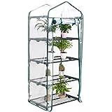 Display4top Mini Serre de Jardin 68 × 48 × 158 cm, Couvercle en plastique PVC transparent, Plantez des herbes ou des fleurs à l'intérieur et à l'extérieur et en toute saison (4 Etages)