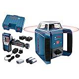 Bosch Professional Laser rotatif GRL 400 H (1 batterie NiMH, 2 piles 1,5 V LR20, 2 x 1,5 V LR20 (D), 1 pile 9 V, Porte 20 m, Laser Rouge, Coffret)