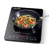 Plaque Induction Portable AMZCHEF, plaque de cuisson à induction de 2000 W avec corps mince, 10 niveaux de puissance, 10 réglages de température, contrôle tactile, minuterie de 3 heures, noir