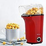 MVPower Machine à Popcorn Electrique 1400W, Popcorn Popper Antiadhésif, Air Chaud sans Huile, avec Couvercle Amovible, Protection contre la Surchauffe