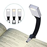 LED Lampe de Lecture, LANDEE Liseuse USB Rechargeable Lumière Pour Les Yeux de nuit, Lampe à Pince à 3 Modes de Luminosité Sur Le Livre, Flexible à 360 °, Dans un éclairage de Lit (Argent)