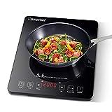 Plaque Induction Portable Amzchef, plaque de cuisson à induction de 2000 W avec corps mince, 9 niveaux de puissance, 9 réglages de température, contrôle tactile, minuterie de 3 heures, noir