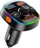 Bovon Transmetteur FM Bluetooth, 7 Couleurs Lumière Ambiante avec Mode de Respiration, Kit Main Libre Voiture Bluetooth avec Chargeur Allume Cigare USB 5V/2.4A & QC3.0, Soutien Carte TF/Clé USB