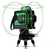 Niveau laser, Careslong 12 avec ligne de nivellement automatique 3 * 360 ligne transversale horizontale et verticale ligne de faisceau laser vert IP54 nivellement et alignement étanche moins de 5nw