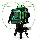Niveau Laser Croix Vert 25M, Careslong Niveaux 12 lignes autonivelant IP54 Extrieur antomatique rotatif fibre optique 3 * 360 crois Horizontal et Verticale faisceau laser verte (Inclus 2 Piles)