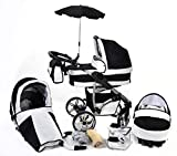 Twing, 3-in-1 Travel System with Baby Pram, Car Seat, Pushchair & Accessories (3in1 Travel System -Baby tub, Sport seat, Car seat, Black & White)