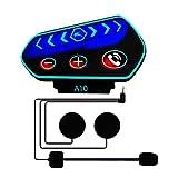 Casque Moto Bluetooth Kit Main Libre écouteur, BEYI Interphone pour Casque Bluetooth 5.0 Contrôler des Appels, écouter de la Musique, Coupe-Vent et Anti-interférence, Gros Bouton avec Lumière