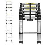 Songyusen Échelle télescopique Polyvalente 12,5 pi/3,8 m, échelle Pliante Escaliers de Grenier en Aluminium Haut, échelle Portable, portatif étendu, escaliers de Grenier à 13 marches, 330 Livres-A8