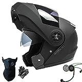 Dongjiuk Casques de Moto Bluetooth - Deux visières modulables intégrées, Casque intégral de Moto pour Hommes/Femmes, Lentille antibuée/Imperméable/Respirant/Noir Mat