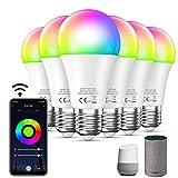 Bewahly Ampoule Connectée WiFi [6 Pack], E27 9W Smart LED Bulb Compatible avec Alexa et Google Home, RGB et Blanc Dimmable Intelligente Changement de Couleur Ampoules LED, Contrôle à distance par App