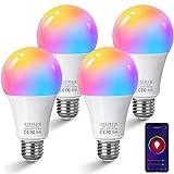 Ampoule Connectee AISIRER Ampoule WIFI LED E27 Intelligente 10W 1000LM Compatible avec Alexa, Google Home, Smart Ampoule Multicouleur avec Lumière Blanche Chaude, Commande Vocale/Télécommande A19 4PCS