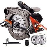 TACKLIFE 1500W 4700RPM Scie Circulaire, 2 Lames 185mm (40T&24T) et Compatible avec 190mm, Capacit de Coupe : 63mm (90), 45mm (45), Protecteur en Aluminium, Moteur en Cuivre Pur