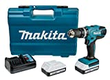 Makita HP457DWE10 Perceuse visseuse  percussion, 2 x 18 V 1,5Ah avec les accessoires