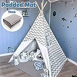 Tipi Enfant- Grande Maison de Jeu Pliable Solides intrieure extrieure- 100% Toile en Coton Tente de Jeu pour Enfants (Gris Chevron)