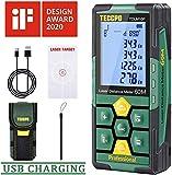 Tlmtre laser 50m TECCPO, USB 30mins Charge rapide, Capteur d'angle lectronique, 99 stockage, 2.25'' LCD rtro-clair mute fonction, mesure Distance, Surface et Volume, IP54, trpied, TDLM26P