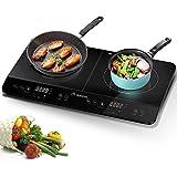 Aobosi plaque de cuisson, table de cuisson  induction double portable, commande par capteur et plateau en verre cristal,Minuterie de 4 heures,3500W