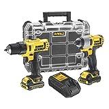 DEWALT - Kit 2 Outils avec Perceuse-Visseuse et Visseuse à Chocs - 2 Batteries XR 10,8V, 1,3Ah Lithium Ion - DCK211C2T-QW - Sans Fil - Chargeur Multi-Voltage et Coffret TSTAK Transparent Inclus
