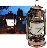 ChiliTec 22634 Lanterne de camping à LED en cuivre à intensité variable Fonctionne avec 4 piles AA Mignon 23,5 cm de haut Œillet, arceau blanc chaud, 6 V