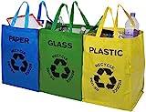 Premier Housewares 1900261 Lot de 3 Bacs  Tri Papier/Plastique/Verre