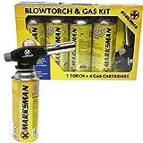 Kit de Chalumeau à gaz butane lance-flammes allumage automatique soudure, BLOWTORCH + 4 GAS BOTTLE