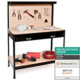 tectake tabli d'atelier | en Bois et Acier | avec Panneau  Outils et tiroir de Rangement - diverses Tailles au Choix (120x60x156cm | No. 400855)