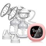 Tire-lait électrique, NEKAN Tire-lait double Pompe d'allaitement portable Pompe à lait avec écran tactile LCD intelligent avec aspiration du lait maternel, massage du sein et allaitement
