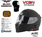 vcan V271Blinc Bluetooth avant à rabat Casque de moto GPS MP3FM Casque Interphone modulaire Noir mat avec kit d'entretien & Cagoule noir noir S