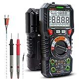 Multimètre Automatique Numérique TRMS 6000 Points (Guide de Bornes LED), Testeur Electrique Professionnel, Température Capacimètre Tension/Courant AC DC Résistance/Fréquence et Température, KAIWEETS