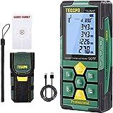 Télémètre laser 50m TECCPO, USB 30mins Charge rapide, Décoration intérieure, Capteur d'angle électronique, 99 stockage, 2.25'' LCD Écran mute fonction, mesure Distance, Surface, Volume, IP54-TDLM26P