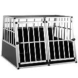 Cage de Transport Taille XXL pour Animaux domestiques Aluminium MDF 2 Portes Noir Argent Caisse Chien Chat Rongeur boîte Box de Transport Voiture
