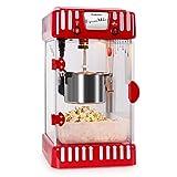 KLARSTEIN Volcano - Machine à pop-corn, Design rétro des Fifties, Bol amovible en acier, Bras mélangeur, Eclairage intérieur, Porte aimantée, Préparation facile - Rouge
