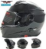 vcan V271Blinc Bluetooth avant  rabat Casque de moto GPS MP3FM Casque Interphone modulaire Noir mat avec kit d'entretien & Cagoule noir noir S