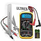 ULTRICS Multimètre Numérique LCD, Haute Qualité Voltmètre Ampèremètre Ohmmètre, Portable Digital Testeur Electrique Mesure Tension Courant Continuité Résistance AC DC Circuit Diodes Transistors
