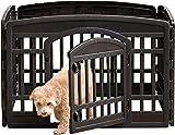 Iris Ohyama, Parc à chiot / enclos chien, porte à 2 verrous, clips pour un assemblage & démontage facile, modulable, résistant aux intempéries, pour chien - Pet Circle CI-604E - Noir
