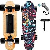 Hanico E-Cruiser Skateboard Électrique avec Télécommande, 7 Couches de Longboard Électrique en Érable, 20KM/H Max, Moteur 350W, E-Skateboard pour Adulte, Adolescent, Enfant (Noir)