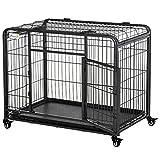 Pawhut Cage pour Chien Pliable Cage de Transport sur roulettes 2 Portes verrouillables Plateau Amovible dim. 125L x 76l x 81H cm métal Gris Noir