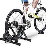 Yaheetech Entraineur Magnétique Turbo de Vélo Pliable Réglable Home Trainer pour Roues de 26 à 28 Pouces et 700C Noir