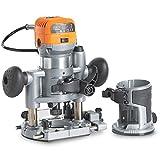 """VonHaus — Défonceuse électrique compacte — 2 bases incluses : de plongée et de taille — 710 W — Sac à outils inclus — Machine de travail du bois — 3 pinces de serrage : 1/4"""", 6 mm, 8 mm."""