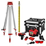 VEVOR Niveau Laser Rotatif avec Trépied et Mire, Portée Mesure 500 m Kit Laser Rotatif avec Trépied et Mire, Niveau Laser Autonivelant à 360°, 165 cm Ouvert 104 cm Fermé Trépied Télescopique, 5 m Mire