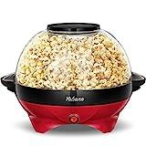 Yabano Machine à Popcorn, Électrique Machine à Pop Corn avec Plateau de Cuisson Détachable, Revêtement Antiadhésif, Bol de 5l Couvercle 2-en-1, Rouge