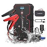 FNNEMGE Booster Batterie, 2000A 21800mAh Portable Jump Starter, Démarrage de Voiture (Jusqu'à 8.0 L Gazole 6.5L Diesel), Alimentation Eléctrique d'urgence pour Voiture avec Lamp LED,Charge QC3.0