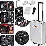 Valise à outils 899 pièces Poignée télescopique Malette à outils à roulettes Boite à outils Set d'outils Clés Tournevis