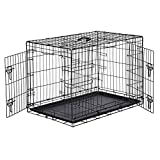 AmazonBasics Cage pliante en métal avec 2portes pour chien - 91 cm